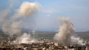 Combates entre jiadistas e exército sírio em Hama e na foto em Idleb, a 10 de maio de 2019.