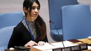 A iraquiana Nadia Murad, vítima do grupo Estado Islâmico e que se tornou porta-voz da comunidade yazidi