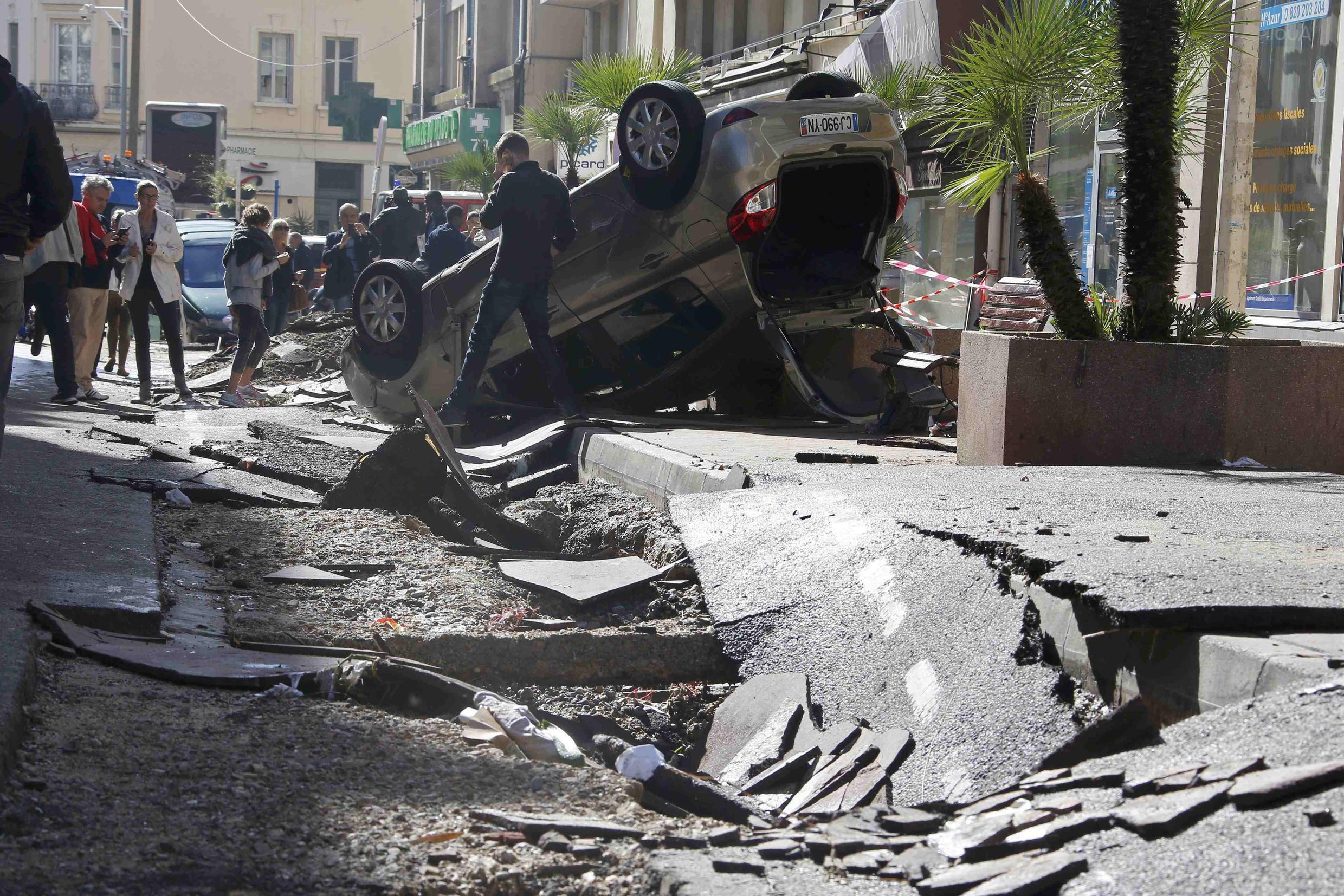 A street in Cannes destroyed by flooding