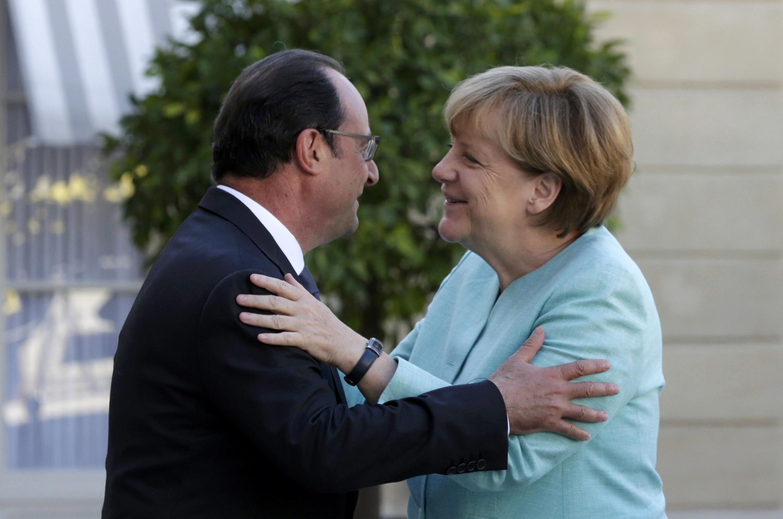Президент Франции Франсуа Олланд и канцлер Германии Ангела Меркель, Париж, 6 июля 2015 г.