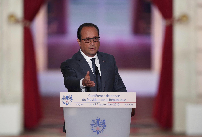 O presidente francês, François Hollande durante conferência de imprensa esta segunda-feira, 07 de Setembro de 2015.