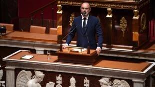 法国总理菲利普4月28日在法国国民议会介绍政府提出的解封计划。