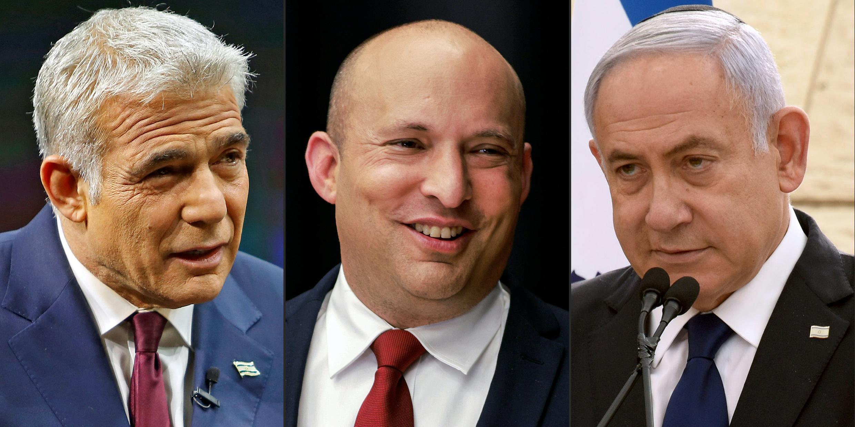 From left to right: Yair Lapid, Naftali Bennett and PM Benjamin Netanyahu