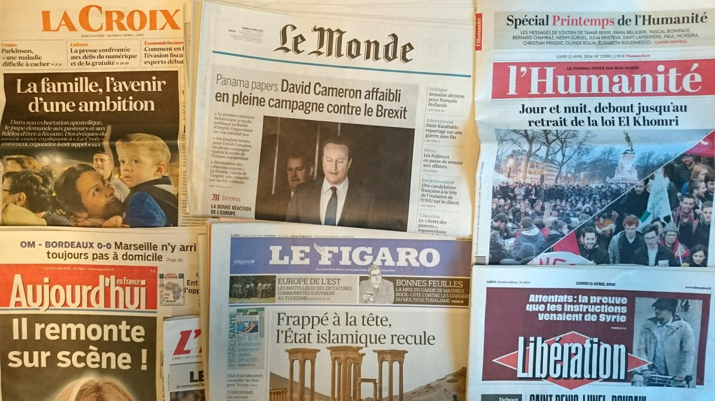 Primeiras páginas dos jornais franceses11/04/2016