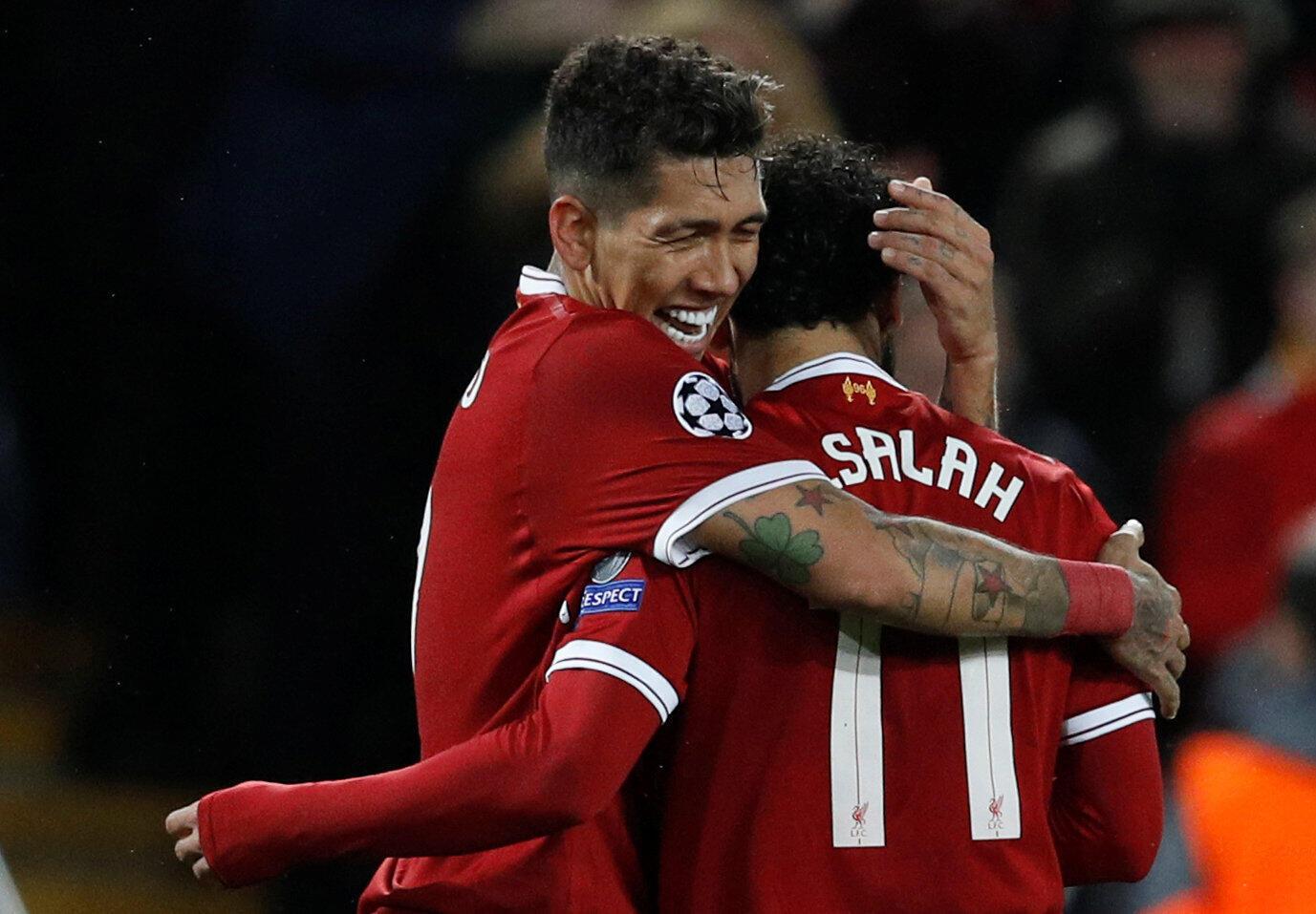 Roberto Firmino et Mohamed Salah ont inscrit quatre des cinq buts de Liverpool contre l'AS Roma (5-2) le 24 avril 2018