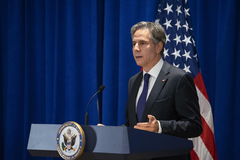 El secretario de Estado de EEUU, Antony Blinken, en una rueda de prensa en Nueva York el 23 de septiembre de 2021