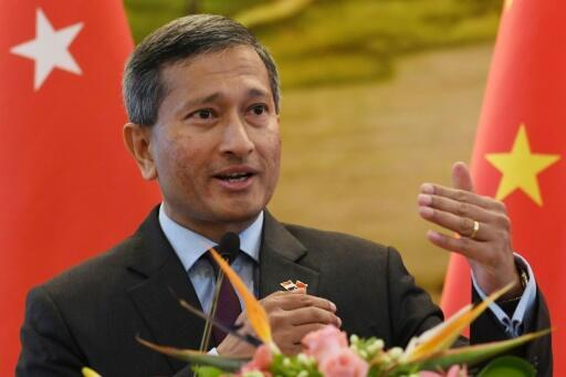 Singapore's Foreign Minister Vivian Balakrishnan speaks during a joint press conference with Chinese Foreign Minister Wang Yi at the Ministry of Foreign Affairs in Beijing on June 12, 2017
