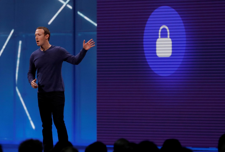 La patron de Facebook Mark Zuckerberg en 2018 à San Jose.