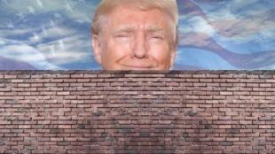 美国总统特朗普要求美墨边境建墙遭网民恶搞资料图片