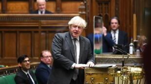 Thủ tướng Boris Johnson phát biểu trong cuộc tranh luận tại Hạ Viện Anh về Luật Quan hệ tương lai với Liên Hiệp Châu Âu, ngày 30/12/2020, Luân Đôn, Anh Quốc.