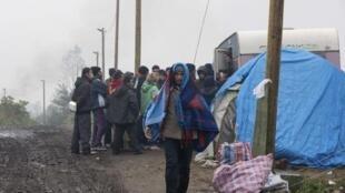 Migrants in Calais in October 2015