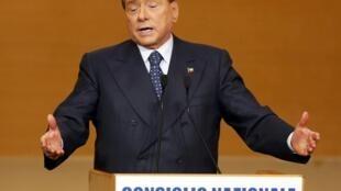 Silvio Berlusconi falou hoje a membros do Partido Povo da Liberdade.