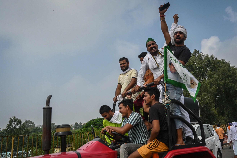 Agricultores indios se manifiestan cerca de la capital india, en Muzaffarnagar, en el estado de Uttar Pradesh (nordeste) para reclamar la abolición de las nuevas leyes agrícolas, el 5 de septiembre de 2021