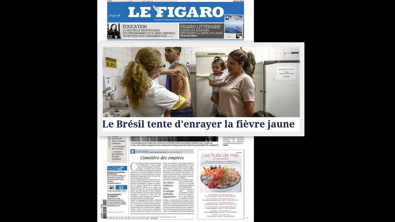 O jornal Le Figaro desta quinta-feira (1°) traz matéria sobre a luta contra a febre amarela no Brasil.