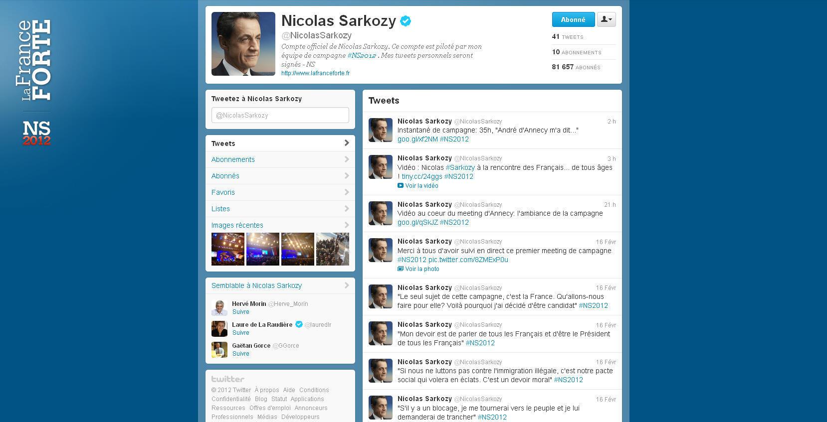 Depuis le lancement de sa campagne présidentielle, Nicolas Sarkozy s'affiche sur Twitter
