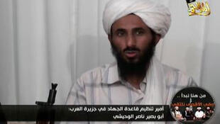 Imagem de Nasser al-Wasgishi em um vídeo da Al Qaeda.