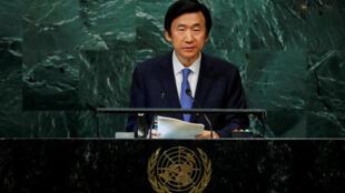 韩国外长尹炳世在联大发言2016年9月22日