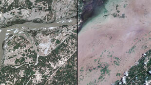 Montage de deux images satellites montrant à gauche l'Indus dans son cours normal et à droite l'étendue de la crue du fleuve sacré.
