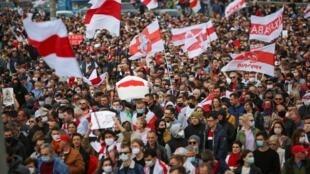 Un nouveau rassemblement de la contestation populaire des résultats de la présidentielle a eu lieu dimanche 4 octobre 2020 à Minsk.