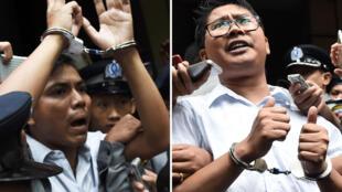 Les journalistes birmans Kyaw Soe Oo et Wa Lone escortés par la police après leur condamnation par un tribunal à la prison de Yangon, le 9 septembre 2018.