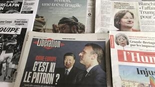 Primeiras páginas dos diários franceses de 26 de Março de 2019.