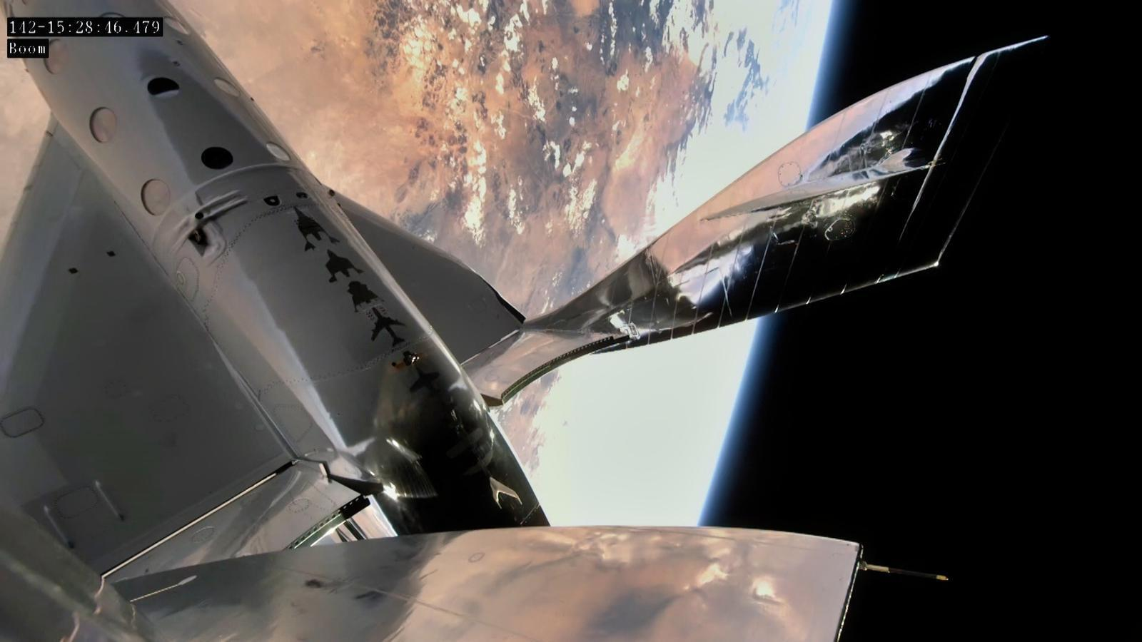 After climbing to 50,000 feet (15 kilometers), VSS Unity ignites its rocket-powered engine to ascend at Mach 3 beyond the 50 miles (80 kilometers) of altitude  considered the edge of space