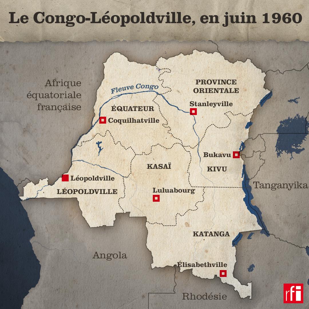 Le Congo-Léopoldville, ou République du Congo, en juin 1960.