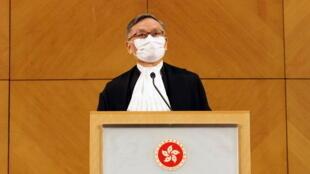 香港终审法院新任首席法官张举能2021年1月11日在记者会上。