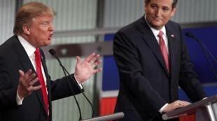Tranh luận nảy lửa giữa 2 ứng viên đảng Cộng Hòa  Donald Trump (T) và Ted Cruz  trên truyền hình ngày 14/01/ 2016.
