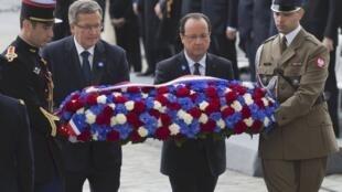 French President François Hollande and Polish President Bronislaw Komorowski commemorate VE Day in Paris.