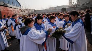 资料图片:2018年3月25日,河北某村地下教会信徒为圣枝主日活动做准备。