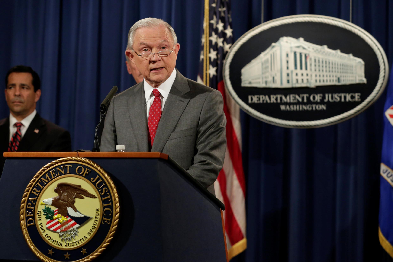 Bộ trưởng Tư Pháp Mỹ Jeff Sessions thông báo gia tăng điều tra về rò rỉ thông tin, Washington, ngày 04/08/2017
