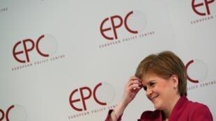 La Première ministre écossaise, Nicola Sturgeon, après avoir prononcé un discours sur «l'avenir européen de l'Écosse après le Brexit», à Bruxelles, le 10 février 2020.