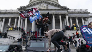 Supporters of US President Donald Trump protest outside the US Capitol on January 6, 2021, in Washington, DC.
