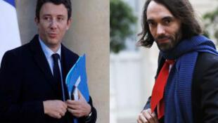 Benjamin Griveaux (esquerda) e Cédric Villani (direita), até agora ambos membros do partido presidencial, vão disputar a câmara de Paris nas eleições de Março.