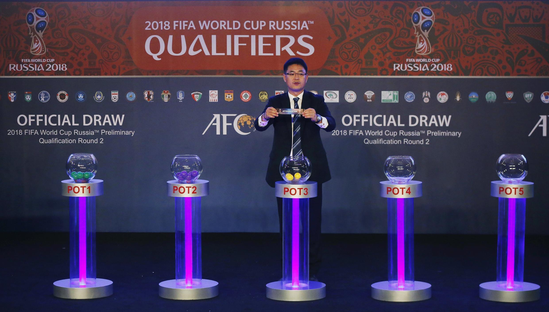 Lễ rút thăm chia bảng đấu vòng loại Cúp thế giới 2018 khu vực châu Á tại Singapore ngày 14/4/2015.