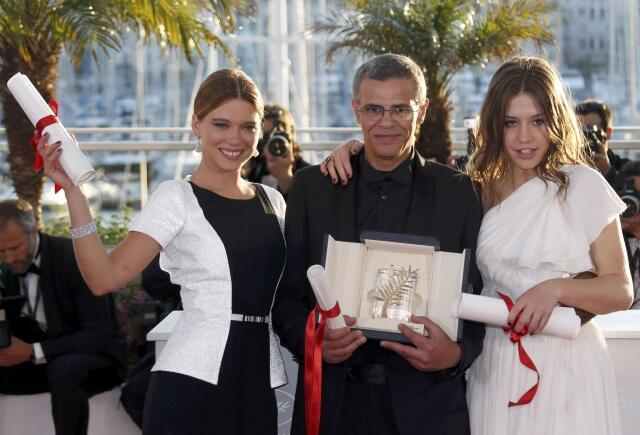 Cannes 2013, Golden Palm for 'Blue is the Warmest Colour': Abdellatif Kechiche along with the film's lead actresses