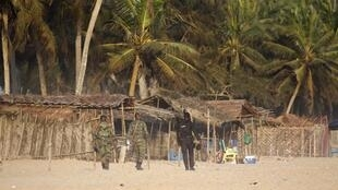 Police on Grand-Bassam in Côte d'Ivoire after the attacks
