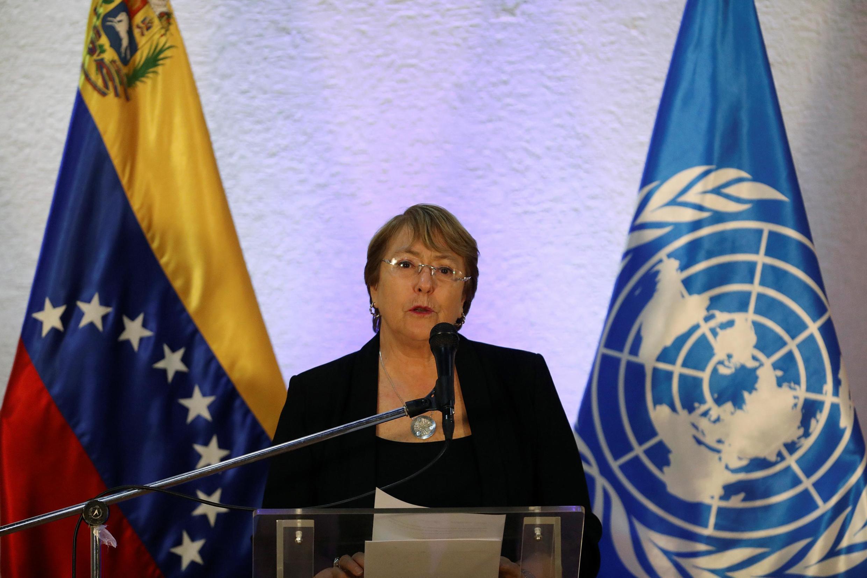 Alta Comissária das Nações Unidas para os Direitos Humanos, Michelle Bachelet, durante sua recente visita  à  Venezuela. Junho de 2019