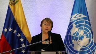 Alta comissária das Nações Unidas para os Direitos Humanos, Michelle Bachelet, durante sua passagem pela Venezuela