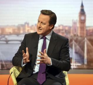 O premiê britânico, David Cameron, durante entrevista concedida hoje ao canal de TV BBC1.