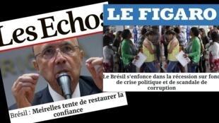 Jornais Les Echos e Le Figaro dão destaque para crise econômica no Brasil.