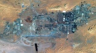 Vista aérea via satélite do complexo de exploração de gás de Amenas na Argélia.