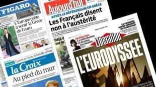 Capa dos jornais franceses La Croix, Libération, Le Figaro e Aujourd'hui en France desta terça-feira, 7 de julho de 2015.