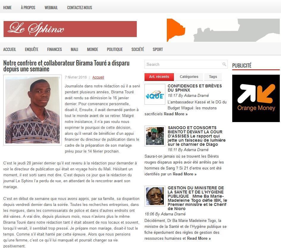 Image RFI Archive - Mali - France - Birama Touré