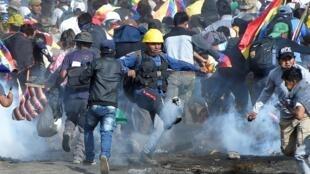 玻利維亞支持前總統莫拉萊斯的可可農與警方衝突2019年11月15日