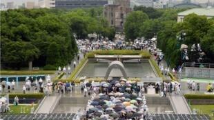 日本举行纪念广岛核爆炸69周年仪式 路透社2014年8月6日照片