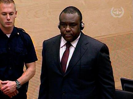 Former DRC vice-president Jean-Pierre Bemba appears at the International Criminal Court in The Hague in 2008