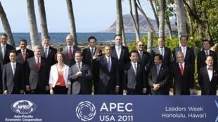 Foto de família reúne os líderes da cúpula da Apec, em Honolulu.