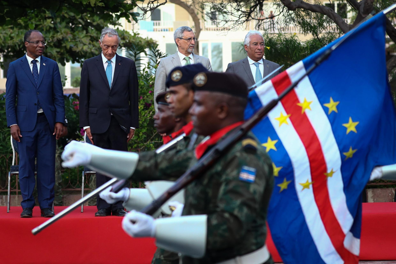 Da esquerda para a direita Ulisses Correia e Silva, Marcelo Rebelo de Sousa, Jorge Carlos Fonseca e António Costa, respectivamente, no Mindelo, Cabo Verde, a 11 de Junho de 2019.